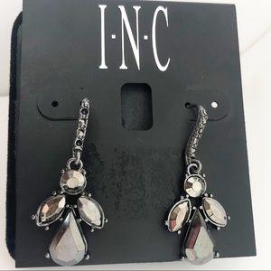 INC Black Drop Cluster Earrings Pave Hook MSRP $24